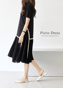 Blanc color pleated dress JO04184