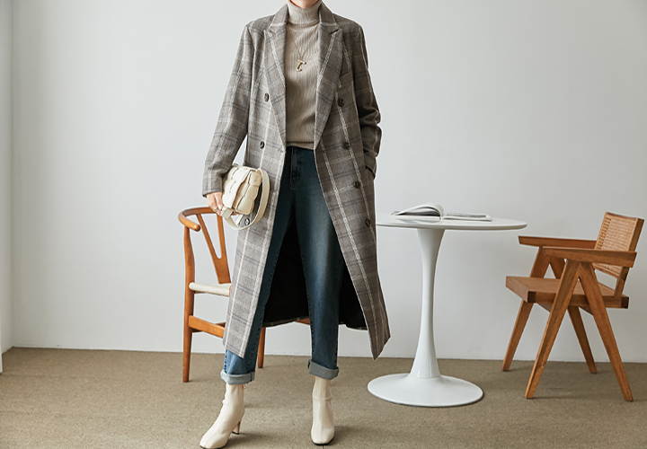 Wool Check Double Coat JJ04607