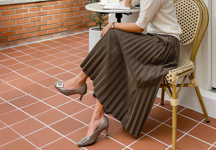 Leather pleated skirt JS04591